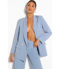 getailleerde losse blazer met parel knopen, blauw