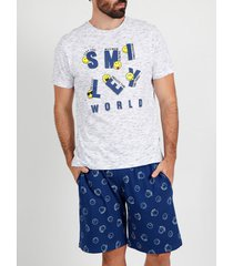 pyjama's / nachthemden admas for men pyjama t-shirt kort icon smiley wit admas