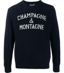 champagne & montagne blue mans sweater