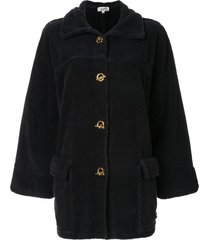 hermès pre-owned toggle-fastening boxy coat - black