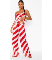candy cane gestreepte satijnen pyjama set met hemdje en broek, red