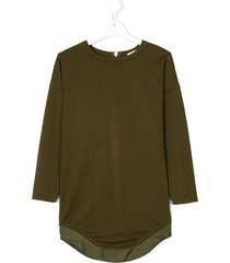 andorine zipper curved-hem dress - green