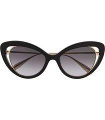alexander mcqueen eyewear cat eye frame sunglasses - black