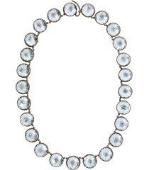larkspur & hawk olivia button rivière necklace - silver