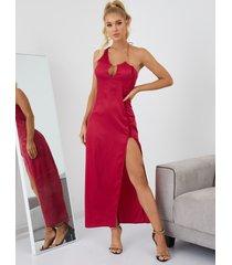 vestido largo con dobladillo con abertura y cuello halter de yoins