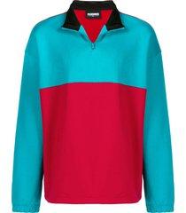 pleasures contrast panel fleece sweatshirt - red