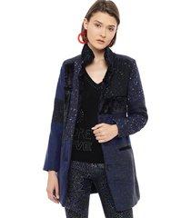 abrigo desigual azul - calce regular