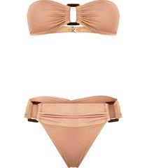 brigitte buckles ruched bikini set - neutrals