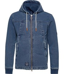 hooded worker jacket jeansjacka denimjacka blå superdry
