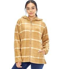 abrigo polar checks mujer camel corona