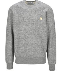 golden goose melange gray archibald star collection sweatshirt with gold star on the front