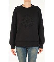 moncler sweatshirt with maxi black rhinestone logo