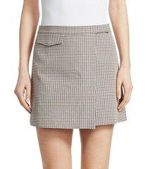 wool-blend plaid mini wrap skirt