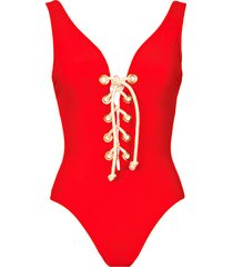 colette lace-up one-piece swimsuit
