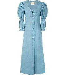 framed greta twisted detail dress - blue