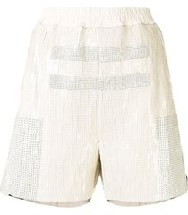rick owens dolphin sequin embroidered shorts - white