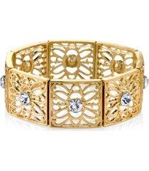 2028 gold-tone crystal filigree stretch bracelet