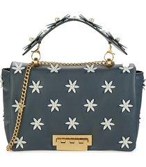 zac zac posen women's earthette faux pearl-embellished shoulder bag - grey white