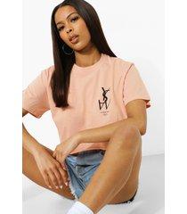 kort t-shirt met borstopdruk, dusty pink