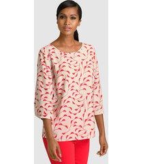blouse alba moda beige::rood