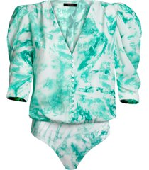 women's afrm foxy puff sleeve bodysuit, size small - blue/green