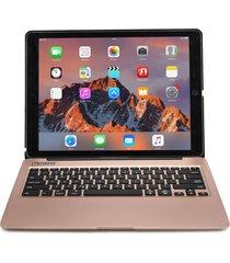 apple ipad pro 12.9 case, cooper kai skel keyboard clamshell (rose gold)
