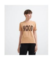 blusa t-shirt estampa lettering animal print com pedrinhas | cortelle | bege | g