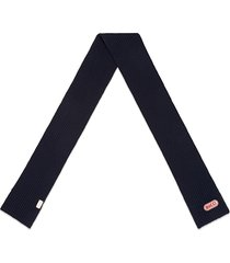 gucci wool scarf with gucci patch - blue
