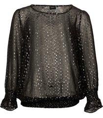 blouse smocking plus round neck viscose blus långärmad svart zizzi