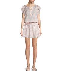 spotted flutter-sleeve smock dress