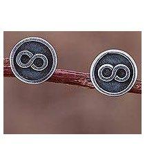 sterling silver stud earrings, 'infinite possibilities' (peru)