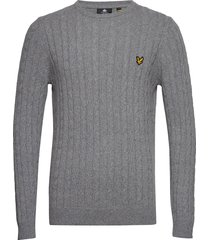 cable jumper stickad tröja m. rund krage grå lyle & scott