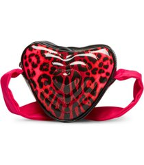betsey johnson patent leopard heart crossbody bag