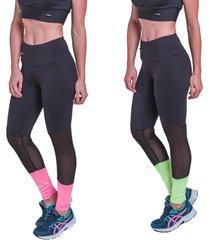 kit 2 leggings carbella neon pink e verde com tela - tricae