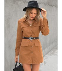 yoins bolsillo marrón diseño collar mini vestido