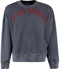 palm angels vintage wash curved logo sweatshirt