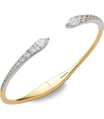 adriana orsini women's goldplated white rhodium-plated, sterling silver, & crystal cuff bracelet