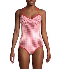 geometric halter bra one-piece swimsuit