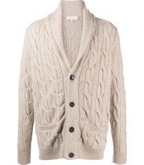 ami amalia chunky cable-knit wool cardigan - neutrals
