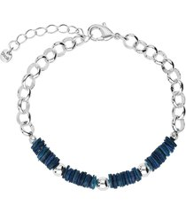 bracciale in ottone rodiato con elementi conchiglia blu per donna