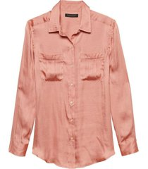 blusa dillon utility soft satin rosa banana republic