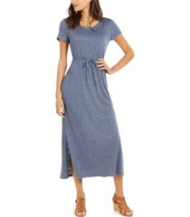 style & co textured drawstring maxi dress, created for macy's