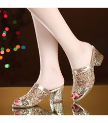 zapatillas de punta abierta malla pu tacones cuadrados sandalias para mujer