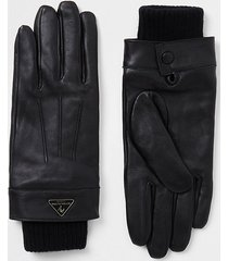 river island mens black leather gloves