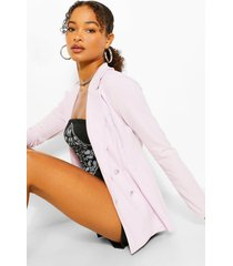 double breasted cinched in waist blazer, lilac