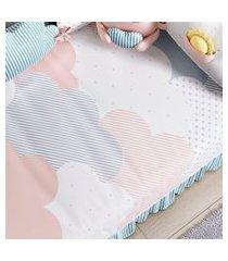 edredom bebê nuvem de algodáo estampado gráo de gente rosa