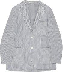 notch lapel stripe wool blazer