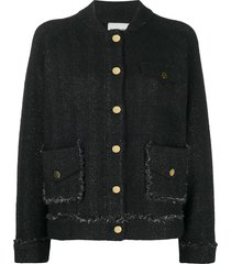 essentiel antwerp tweed cardigan - black