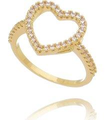 anel drusi coração vazado cravejado de zircônias dourado