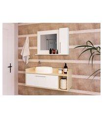 conjunto para banheiro bangkok iii com gabinete suspenso 2 pt branco e off white